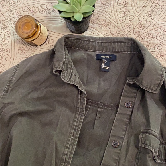 Forever 21 Army Green Jean Jacket